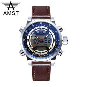 AMST водонепроницаемый светодиодный движения кварцевые спортивные часы механические