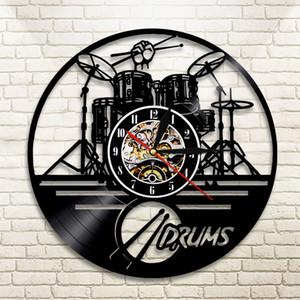 Guitar Drums Set Silhouette LED Backlight reloj Music Modern Vinyl Watch 3d Wall Clock horloge Band Member Fan Handmade Gift 210309