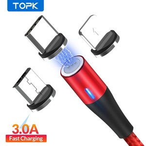 TOPK AM60 3A 3rd Generation Fast Charging LED Magnetic Micro USB Type C Cable for Phone 11 X 8 7 USB Data Charging USB C Cable