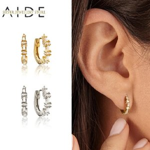 AIDE Exquisite 925 Sterling Silver Hoop Earrings for Women Mini Geometric Square Zircon Pierced Earings Fine Jewelry kolczyki