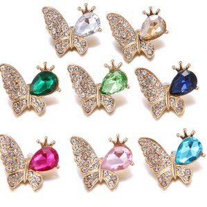 6pcs lot 18mm 20mm Butterfly Rhinestone Snap Button For Snaps Bracelet Jewelry Accessories ps0217