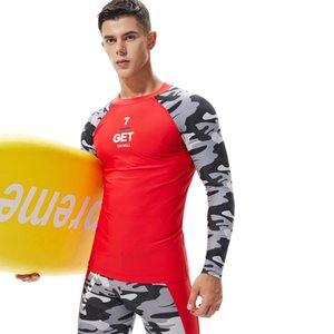 UV Protect Surfing Rash Guard Men Swimwear Long Sleeve Swimsuit Mens Rashguard Surf Shirt For Swimming Sailing Diving Wetsuits L0312