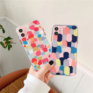 Irregular Color Graffiti Transparent Phone Case For iphone 12 Pro Max 7 8 plus XR XS Max SE Soft Back Cover Cute Cases