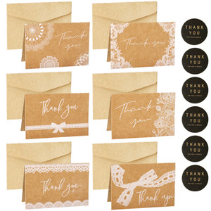 6sets Lace Thank you Card Retro Kraft Gift Card Wedding Party Invitation Greeting Card with Envelope Sticker Blank Inside Cards