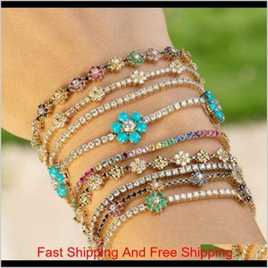 2021 New Arrived Blue Cz Colorful Flower Tennis Link Chain Bracelet For Women Girls Iced Out Bling Cz Paved Daisy Flower Bracelets Ik4 Iiakr