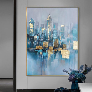 Modern abstract canvas oil painting abstract gold picture living room bedroom home decoration mural hand painted oil painting