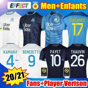 Olympique de Marsella Fútbol Jersey 2020 2021 OM Versión del jugador Maillot de Foot Payet Kamara Benedetto Niños 20 21 Enfantes Camisas de fútbol