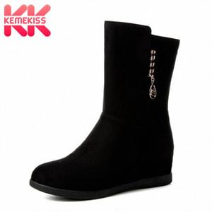 KemeKiss Size 33 43 Women Mid Calf Boots High Heels Female Buckle Winter Warm Fur Shoes Woman Wedge Zipper Half Short Boots Snowboard g7Yl#