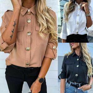 Donna formale casual blusa moda manica lunga a maniche lunghe bottone tunica lungo tunica lady ragazze camicie nuove 3 colori