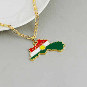 Chain National Flag of Kurdish Jewelry For Women Men Kurdistan Region Map Pendant Necklaces