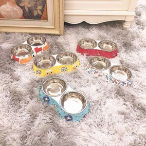 Pet products cartoon melamine stainls steel cat bowl dog double bowl dog bowl non slip easy to clean cat and dog universal