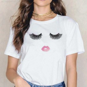 shirts tshirts womens clothes designer t Short sleeve T-shirt Eyelash red lips T-shirt printed letter women's t summer blouse made in Ch