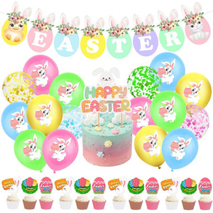 Пасхальная тематическая партия Воздушные шары Счастливой Пасхи Баннер Банни Воздушные шары Установить весенние украшения для вечеринки Детские игрушечные воздушные шары