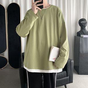 2021 New Cotton Fake Two-piece t Shirt Men's Fashion Casual O-neck Pullover T-shirt Men Streetwear Korean Loose Long-sleeved Tshirt Mens Vac