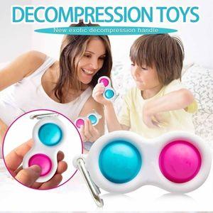 100PCS Simple Dimple Keychain Fidget Sensory Push Pop Bubble Toy Key Ring Pendants Squeeze Silicone Bubbles Stress Relief Finger Toy H25P7KR
