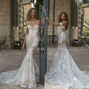 새로운 환상 레이스 인어 웨딩 드레스 숄더 아플리케 인 신부 가운 뒷다리 스윕 열차 robes de mariée