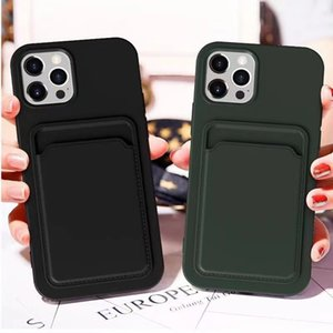 Fashion Slim Matte Silicone Carde Slot Wallet Clutch Back Cover for iPhone 12 Min11 Pro Max XR XS Max 6s 8 Plus SE