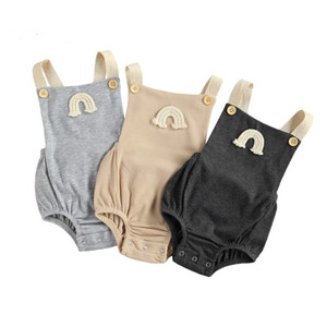 Toddler Baby Rainbow Embroidery Ribbed Bodysuit INS New Infants Sleeveless Suspender Romper Square Collar Button Decoration Clothes A5864