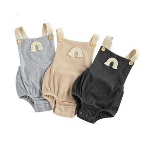 Bambin bébé arc-en-ciel broderie body body ins normes nouveaux nourrissons sois suspendus sans manches courte corsotte bouton bouton décoration vêtements A5864