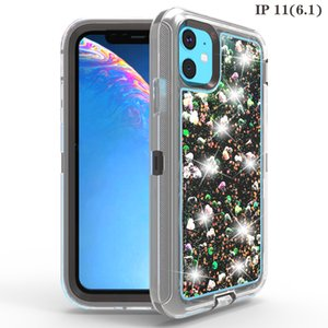 Quicksand Glitter Liquid Robot Cases Shockproof Clear Armor Back Cover Defender Cases for iPhone 11 Pro Max Samsung S10 Note 10 with OPP Bag