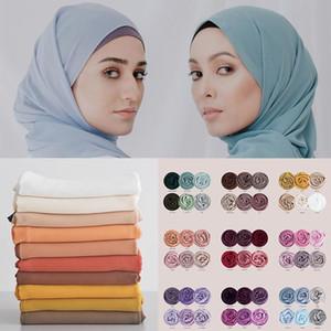 5pcs lot Bubble Chiffon Hijab Scarf Women Head Wraps Plain Muslim Scarves Hijabs Shawls Turban Headband Headscarf Foulard Femme