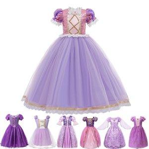 Girls Princess Tangled Robe Sequins Costume de Cosplay Fantaisie Pour Enfants Violet De Luxe Ball Robe Halloween Parti d'anniversaire Vestido 210226