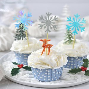 Other Event & Party Supplies 40pcs Snowflake Cake Topper Paper Cupcake Wedding Birthday Decoration Baby Shower Christmas Dessert Decor