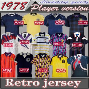 78 82 1986 1995 Schottland Retro Fußball-Jersey-Weltcup-Ausrüstung Home Blue Kits 1996 1998 Klassische Vintage Schottland Retro Fußball-Hemd Tops