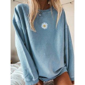Herbst Daisy Printed Pullovers Sweatshirts Frauen O Neck Langarm Streetwear Lose Übergröße Sweatshirt Sweatshirt Weibliche LJ201014