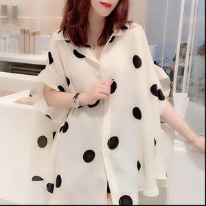 2021 New Summer Women Korea Blouse Short Sleeve Causal Tops Female Fashion Polka Dot Elastic Chiffon O neck Shirt W97