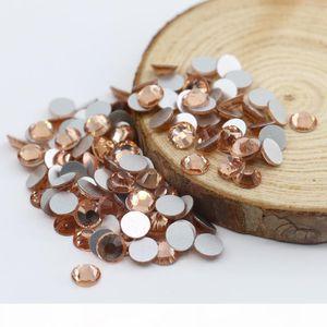 Lt. Peach Loose Round Glass Rhinestones Free Shipping For Garment Decoration Loose Glass Rhinestones Free Shipping