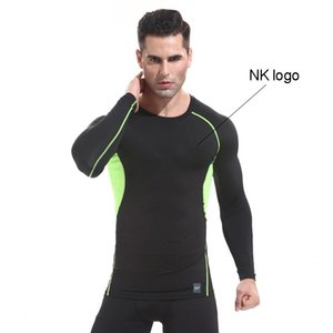 Wholesale 2021 men's quick-drying compression sports fitness clothing pro basketball training running sports tights long sleeves patchwork