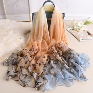Spring and autumn new fashion alligator wrinkle gradual change shawl women's air conditioning warm gauze summer seaside