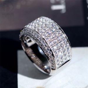 Роскошные ювелирные изделия Полный крошечный 5а Кубический цирконий Белые мужчины Свадебное обручальное кольцо кольцо подарок размером 8-13