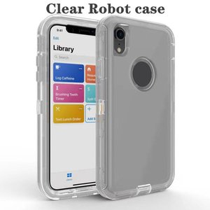 TRANSPARENT Heavy Duty Duty Defender Absorption de choc Cristal Clear Clear Case pour iPhone XS MAX XR 8 Plus Samsung Note 9 S10 No Clip Sac Opp