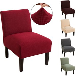 Armless Chair Cover Solid Color Stretch Accent Chair Cover Mid-Century Slipcover Spandex Home Furniture Protecor