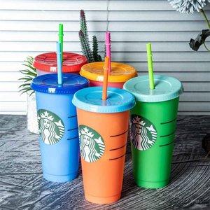 Couvercle de tasse de paille avec logo 24oz / 710ml Starbucks Tasses réutilisables Tumbles en plastique Taboulet froid Café Christmas Party Cadeau Support Drop Dropits