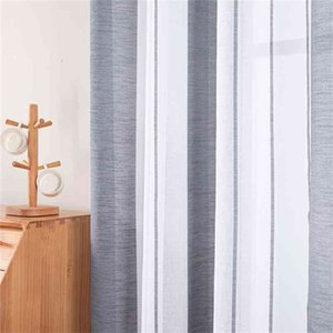 Modern Sheer Curtain Window Tulle Curtain for Bedroom Living Room Home Decortive Stripe Voile Kitchen Curtain for Window 210831