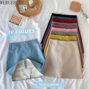Werueruyu над колено мини женщин PU искусственные кожаные юбки плюс размер Jupe Femme Faldas Mujer 210225