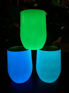Luminous 20oz Straight Tumblers Skinny Cup Light in the Dark 12oz Egg Cup Heat Sublimation Blank Straight Cups sea shipping LLA538