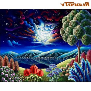 RUOPOTY 40x50 Framed Painting By Numbers Handmade Unique Gift For Adults Children Cartoon Mountain Landscape Oil Picture Decor