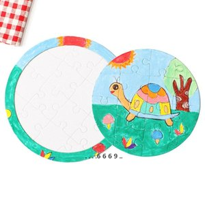 Sublimation Blank Picture Puzzle DIY Colouring Jigsaws Child Square Five Pointed Star Painting Toys White Gift Paper FWA4229