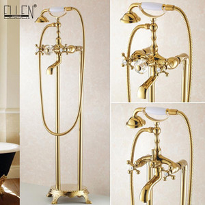 Bathroom Golden Floor Stand Faucet Telephone Type Bath Shower Mixer Brass Shower set Luxury Bathtub Tap 901