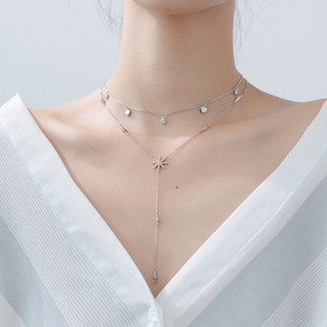 925 Sterling Silver Fashion Tassel Necklaces for Women Sexy S925 Clavicle Necklace Femme Ladies Jewelry Sweater Chain Jewellery Q0127