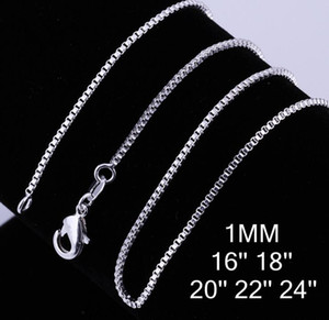 "classic fashion Women's Necklace 925 sterling Silver 1MM Box Chain Necklace 16"" 18"" 20"" 22"" 24"" for Pendants"