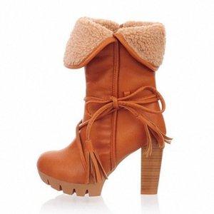 Monerffi bottes hautes bottes pour femmes neige automne hiver femmes veaux de coton plus velvet chaud pointu w4dg #