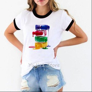 A stack of nail polish print vogue t shirt women white t shirt streetwear manicure store work clothes custom wholesale