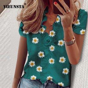 우아한 데이지 파인애플 프린트 블라우스 셔츠 사무실 레이디 봄 여름 프릴 여성 블라우스 섹시한 V 넥 짧은 소매 탑스