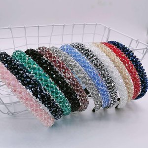 HotNew 12 Colors Full Diamond Headband For Women Party Hair Jewelry Crystal Designer Hair Bands Rhinestone Headbands Wholesale
