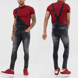Yoga Outfits Mens Pocket Jeans Overall Jumpsuit Streetwear Suspender Pants Broek Polyester Casual Mannen Heren